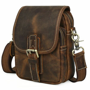 Men's Leather Small Shoulder Sling Bag Sports Running Waist Belt Bag Fanny Pack