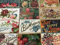 """~12 Large Letter BIRTHDAY ~""""Happy Birthday"""" Antique Greetings Postcards Lot-s271"""