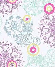 Vliestapete Mandala Muster Retro Struktur bunt VP2104 weiß türkis pink gelb