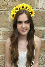 Large Sunflower Flower Hair Crown Yellow Vintage Boho Headband Festival V39