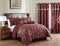 Chezmoi Collection 7-Piece Burgundy Jacquard Woven Paisley Comforter Set