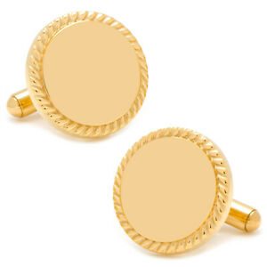 Ox and Bull Trading Co. 14K Gold Plated Rope Border Round Engravable Cufflinks