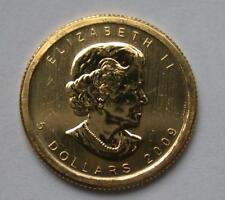 2009 1/10 oz $5 Five Dollar Canadian Maple Leaf Gold Coin Bullion .9999