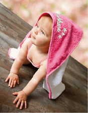 Baby Handtuch BESTICKT mit Namen Kapuzenbadetuch Tuch Bad Decke Kapuzenhandtuch