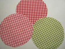 15 Stoffdeckchen / Hauben 3 versch.Farben kariert für Marmeladengläser Deckchen