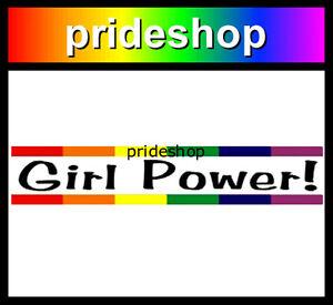 Girl Power Rainbow Bar Adhesive Sticker Female Lesbian Pride #531
