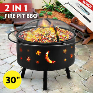 """30"""" 2-in-1 Fire Pit BBQ Grill Outdoor Fireplace Brazier Patio Heater Camping"""