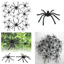 20pcs April Fools'Day Plastic Black Spider Joking Toys Decoration Realistic Prop
