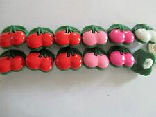 10 x 12mm x 13mm  Plastic Buttons Novelty Cherry Fruit Pieces  1 Loop - No.C272
