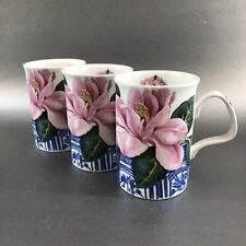 Set Of 3 1995 Rosamonde Roy Kirkham Fine Bone England Cup Mug Vintage Floral