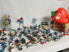Lot Of 49 Vintage Smurfs PVC Figures Toys 70's 80s Peyo Schleich Mushroom House