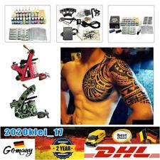 Tattoo Kit Komplett 20 Farben Tätowierung Set 2 Tattoo Maschine LCD Netzgerät DE