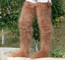 Brown hand knitted long mohair socks fuzzy stockings SUPERTANYA leg warmers sale
