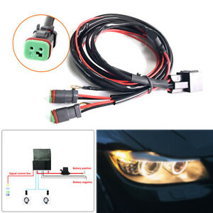 1PC Dual 12V Car Wiring Connector Cable Harness High Beam Driving LED Light Bar