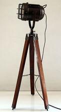 Antique Nautical Home Decorative Floor Lamp Unique Wooden Tripod Searchlight