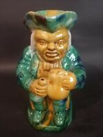 Vintage Majolica Pottery Toby Glazed Pitcher Figural Seated Man
