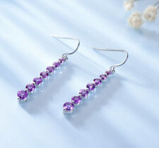 Natural Amethyst Purple Gemstone Drop Round Earrings 925 Sterling Silver