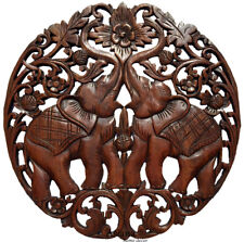 Medallion Tropical Wood Carved Lucky Elephants Home Decor Wall Plaque Brown 24""