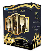 EDI160 Pieces Disposable Plastic Gold Flatware 80 Forks, 40 Knives and 40 Spoons