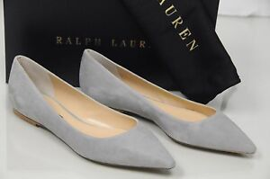 New RALPH LAUREN Purple Label Rina GREY Suede Pointy Flat Flats Shoes 38 40