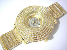 Gold Tone Metal Big Case & Band Techno King Men's Watch w Crystals Item 2979