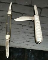 Lot of Two Vintage Pocket Knives - One Silver, One Black, Each One Two-Bladed