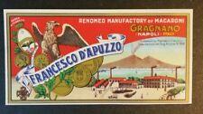 Rara Pubblicita' anni 30/40 in Cromolitografia Francesco D'Apuzzo Gragnano (NA)