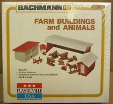 Bachmann Plasticville 2813 Farm Buildings and Animals HO-Scale SEALED