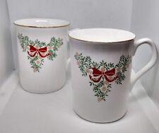 Lot of 4 Festive Season Tudor Rose Bone China Coffee Cup Mug England Christmas