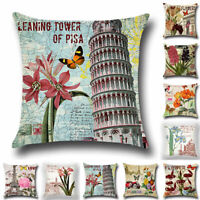 "18"" New Cotton Linen Throw Home Decor Pillow Case Bed Sofa Waist Cushion Cover"
