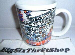 Denver Broncos Coffee Mug Vintage Stadium Comic Los Angeles Raiders Cup 12 OZ