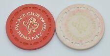 Set of 2 Palace Club Wheel Casino Chips Reno Nevada Sm-Crown Mold FREE SHIPPING
