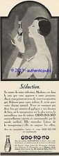 PUBLICITE ODO RO NO EAU DE TOILETTE SEDUCTION ART DECO SIGNE SUDAKA DE 1927 AD