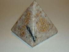 cristalloterapia PIRAMIDE GRANDE PIETRA DEL SOLE REIKI oro A++ piramidoterapia