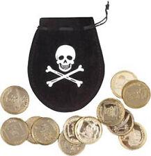Bourse de pirate NOIR avec 12 pièces d'or en plastique déguisement CORSAIRE LG