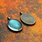 10 QTY - SMALL OVAL ANTIQUE COPPER Photo Pendant Tray Bezel Jewelry  DOME GLASS