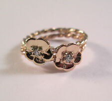 14 Kt Solid Yellow and  Rose Gold  Flower Ring With  Diamonds Size 7.5