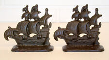 ANTIQUE Arts & Crafts PIRATE GALLEON Cast Iron 1928 CONNECTICUT FOUNDRY Bookends
