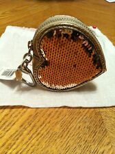 NEW AUTH COACH LEATHER SEQUIN GOLD HEART COIN KEYCHAIN FOB CHARM POPPY 92748