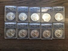 2011S Silver Eagle Dollar ANACS MS70 25th Anniver. First Day Issue-10 pc lot