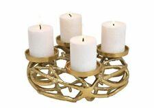 Adventskranz Tischkranz Ø30 cm Kerzenleuchter Metall Alu-Gold Messing dekorativ
