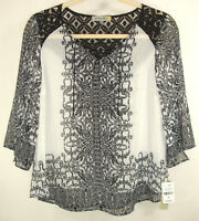 NEW Figueroa & Flower Boho Tunic Top Blouse Peasant White Black Lace Sheer Sz 1X
