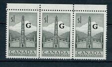1953 Canada Stamp: $1, Indian House; SC #O32; Block of 3, MNH & OG CV=$60