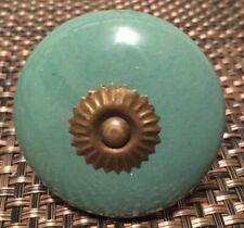 1 Vintage Green Porcelain Cabinet Knob Drawer Pull