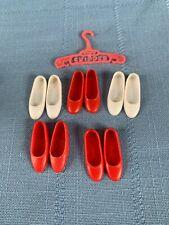 Vintage Mattel Skipper Doll Shoes Red White Flats Japan Hong Kong Name Hanger