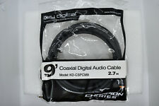 NEW 9' GOLD COAXIAL DIGITAL, SUBWOOFER AUDIO CABLE DESIGNED IN USA, STOCK USA