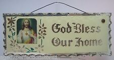 "Old Chip Glass "" God Bless Our Home "" Display Plaque Sign mirrored foil back dsn"