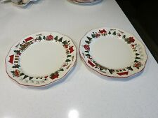 MASONS CHRISTMAS VILLAGE LOT OF (2) DINNER PLATES ENGLAND
