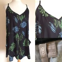 ASOS Black Green Floral TROPICAL Loosefit Playsuit Sz 14 POCKETS Summer B1