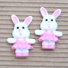 "WHOLESALE- 20pc x 1.25"" Resin Easter Bunny/Rabbit Girl in Skirt Flatbacks SB585W"